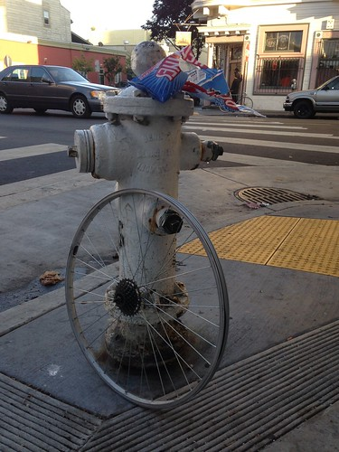 Fire hydrant, bicycle wheel, red vines