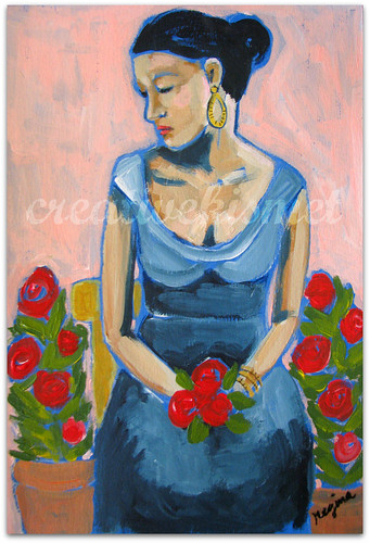 Woman Waiting with Flowers ~ art by Regina Lord