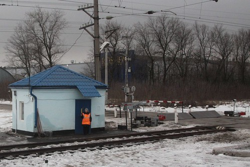 All clear from this Russian level crossing gatekeeper in the village of Сенцово (Sentsovo)
