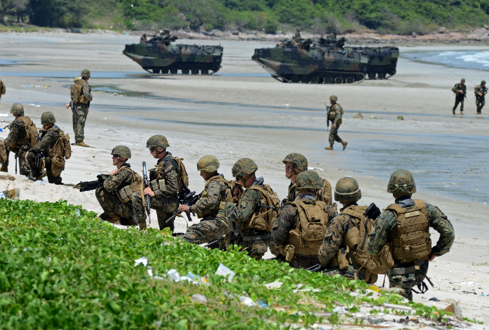 Marines conduct amphibious assault training.