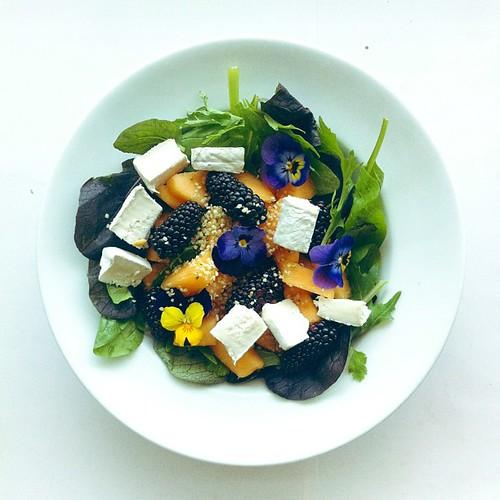 Melon, blackberries, violet flowers, goat cheese, lettuce, hemp seeds, oil, balsamic vinegar  #vegetarian #salad #saladporn #saladpride #eatclean #healthnut #healthyfood #healthyfoods #healthylunch #healthysalad #healthyeating #healthyfoodporn #notsaddesk by Salad Pride