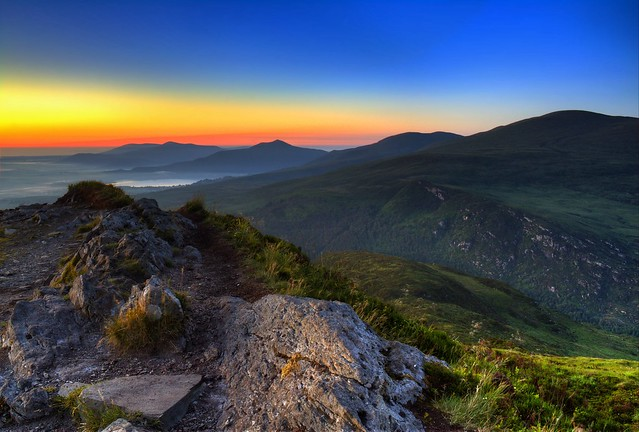 Sunrise viewed from Torc mountain. Killarney National Park, County Kerry (The Kingdom), Ireland.