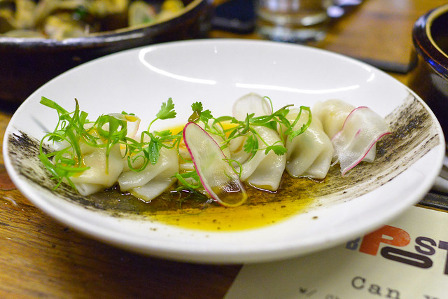 Ginger Shrimp Dumplings black sesame, chili oil, scallions (LeFevre)