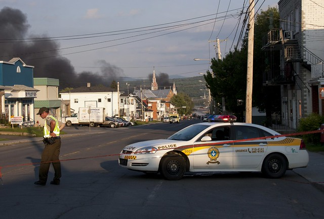 A veiw of La Megantic a day after the train accident