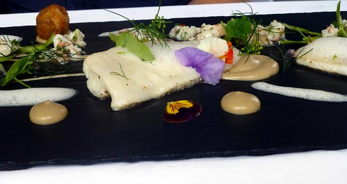 Baked plaice, sep puree, prawn dressing & fritter, buttermilk froth. @ The Mustard Seed