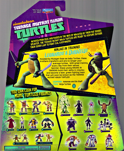 Nickelodeon  TEENAGE MUTANT NINJA TURTLES :: NINJAS in TRAINING, LEONARDO & DONATELLO ..card backer  (( 2013 ))