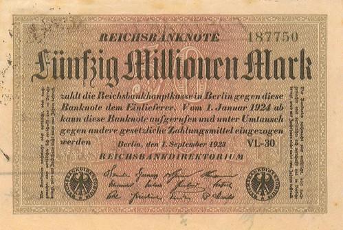 Reichsbanknote 50 million Marks