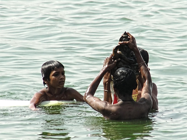 Pahaladvia talab - Every year idols of different Indian gods are immersed in various lakes in Raipur, which add to pollution woes.