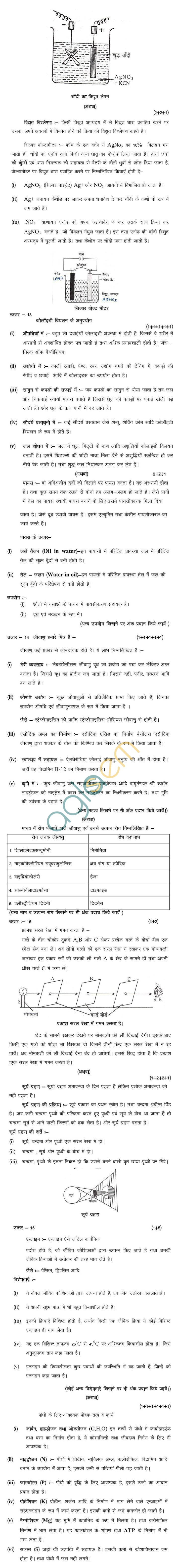 MP Board Class XII Elements of Science and Maths for Agri Model Questions & Answers - Set 3