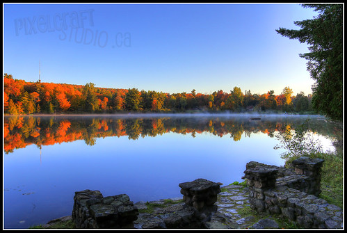 morning autumn fall leaves sunrise colours quebec hdr