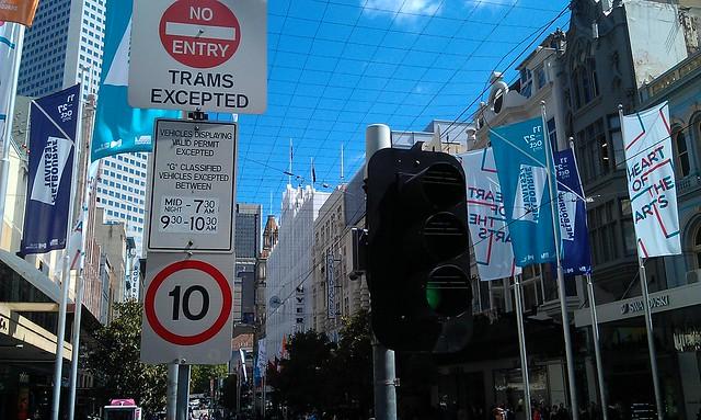 Westbound Bourke St at Swanston St