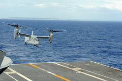A U.S. Marine Corps MV-22 Osprey lifts off from the flight deck after refueling operations aboard USS George Washington (CVN 73) Nov. 17. (U.S. Navy photo by Mass Communication Specialist 3rd Class Peter Burghart)