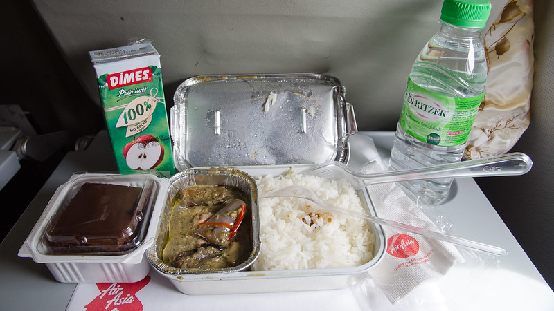 Air Asia X inflight meal, green curry chicken rice, brownies, apple juice and mineral water