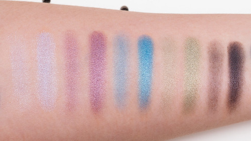 Profusion Angelic Eyes 10 Baked Shadows Palette - Swatches without primer (L) with primer (R)