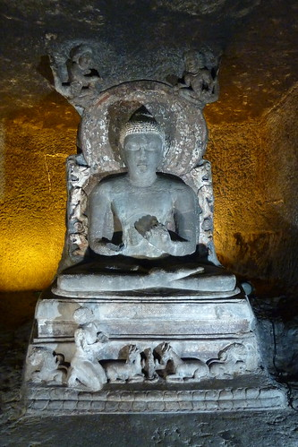 India - Ajanta Caves - Sitting Buddha - 39