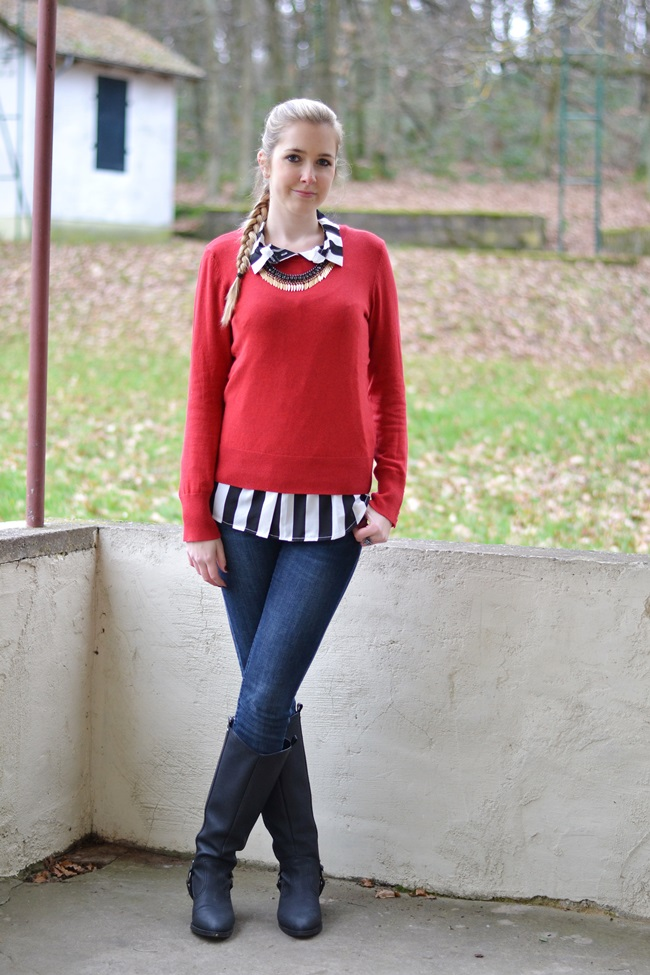 Outfit Roter Pulli + Bluse (4)