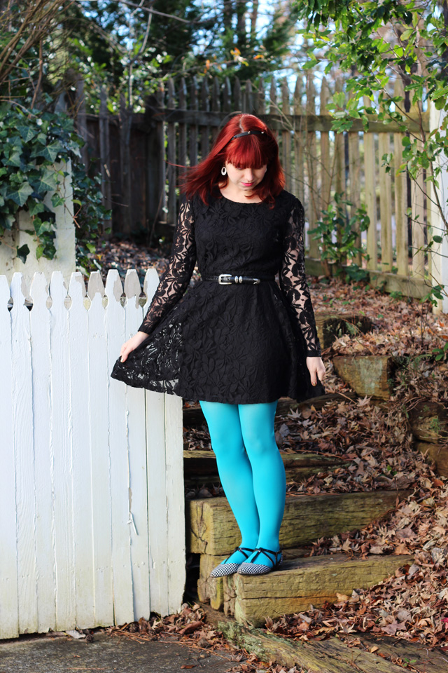 Black Lace Dress Neon Blue Tights Houndstooth Flats Amp A