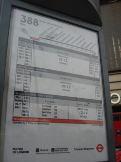 Route 388 timetable at Stratford City Bus Station