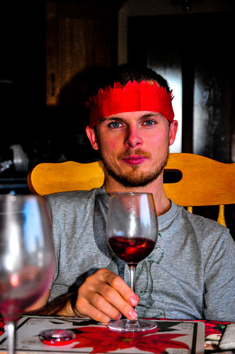 Mark Celebrating with Mulled Wine, in his Crown!