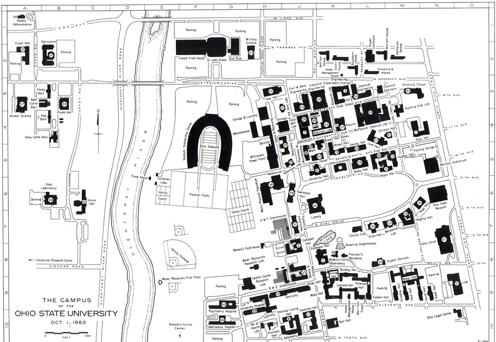 Ohio State Map Campus.1962 Campus Map The Ohio State University Archives Flickr