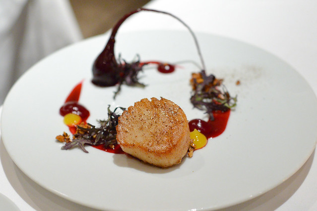 nancy's day boat sea scallop (maine) beets, spiced hazelnut, ras el hanout