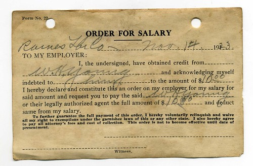 W. H. Young salary order