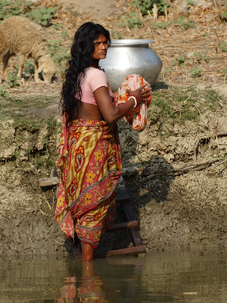 Village Woman Washing Clothes - Sukumari Village - Sundarb -4248