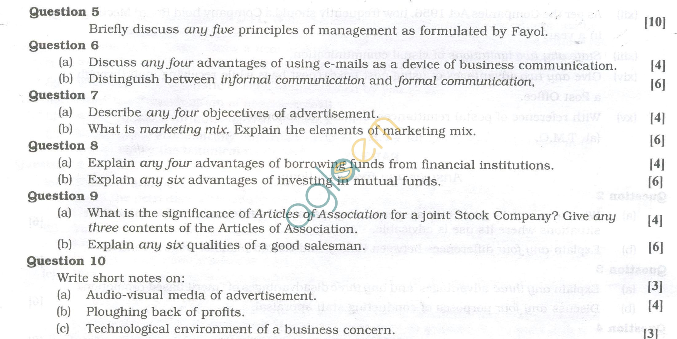 ISC Question Papers 2013 for Class 12 -Commerce