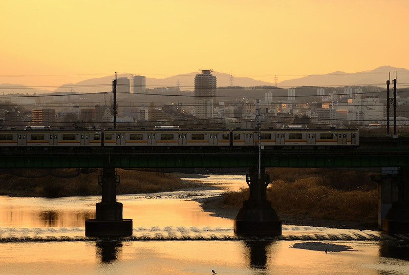 Crossing the Tama-gawa River