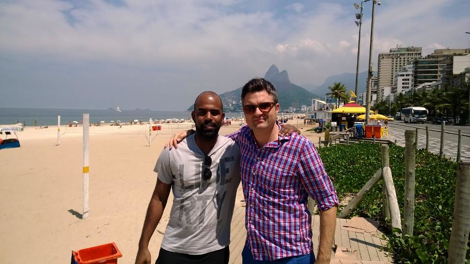 Me and Joshua on Ipanema Beach