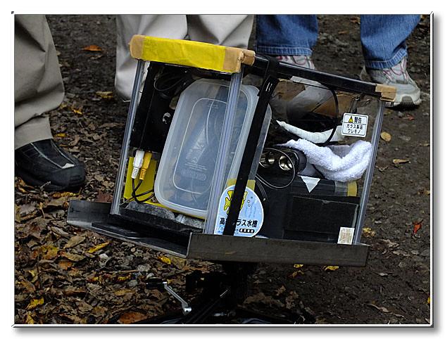 内藤先生お手製の水中撮影機器.産卵の瞬間などを,多数撮影してきた自慢の一品.