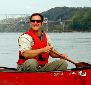 Alex paddling the Missouri River just downstream of the I-70 bridge near Rocheport