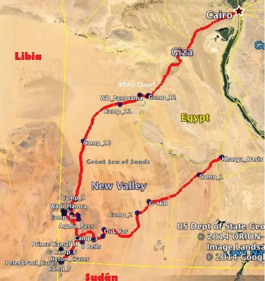 Mapa de la ruta en el desierto Líbico (Expedición Kamal, Egipto) con los campamentos