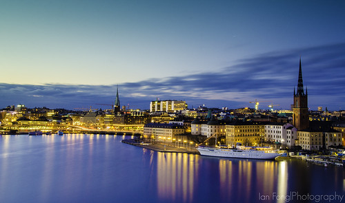 longexposure sunset dawn waterfront sweden stockholm citylights gamlastan churchtowers