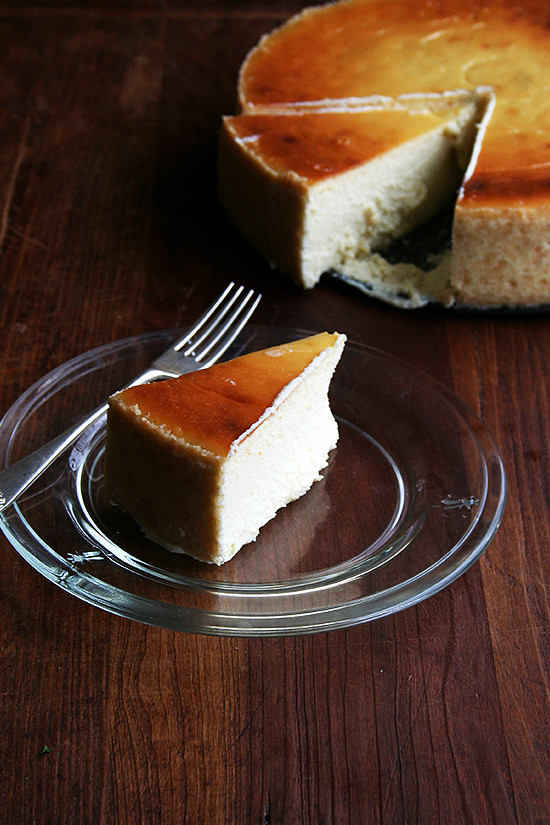 slice of lemon-ricotta cheesecake