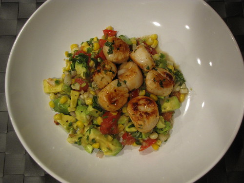 Scallops with Corn & Avocado Salsa