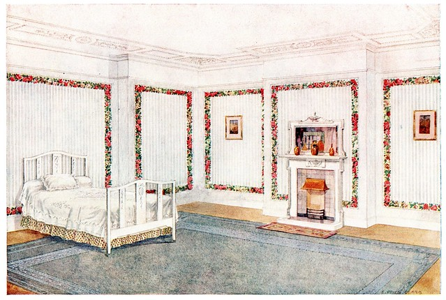 20th century wallpaper room lithograph
