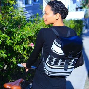 faux leather pleather tribal backpack DIY upcycle recycle