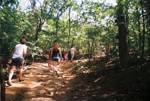 A family of hikers on Tulsa's Turkey Mountain