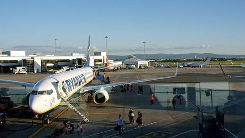 A photo of a Ryanair flight at Dublin Airport. Many Ryaniar flyers don't check in luggage and just take carry-on bags.