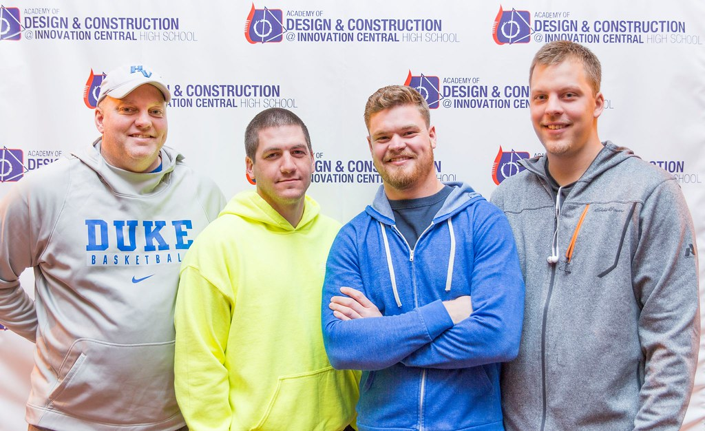 Jeff Weber, Ethan Elzinga, Joe LaFave, and Eric Albin play in 3-on-3 to support GRPS Academy for Design and Construction