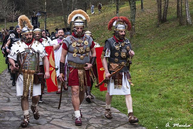 Roman soldiers. Recreation of the Roman invasion of Hispania.
