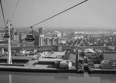 Emirates cable car and Royal Victoria Dock, East London; March 2017