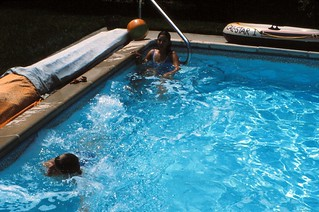 New Jersey   -   Toms River   -   147 Cardinal Drive   -   Our first stop heading South is with Harold & Jane   -   Having fun in their pool   -   July 1985