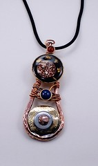 pendant Copper, brass, epoxy,pigment,gold flakes, galvanized steel, brown dotted shell, Lapis lazuli10mm, Carnelian7mm