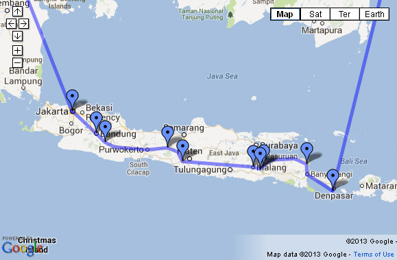 Open the rough Indonesia backpacking itinerary map in Google Maps