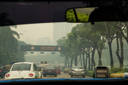 Cars are advised to turn on their headlights - in the daytime, to see through the thick haze.