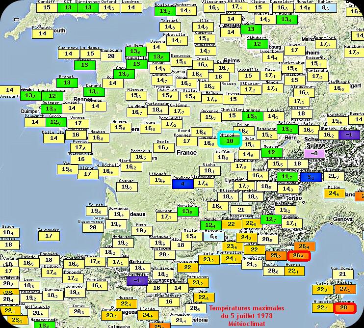 températures maximales et records de fraîcheur du 5 juillet 1978 météopassion
