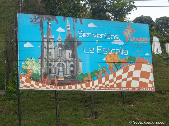 Welcome sign at the border between La Estrella and Itagui