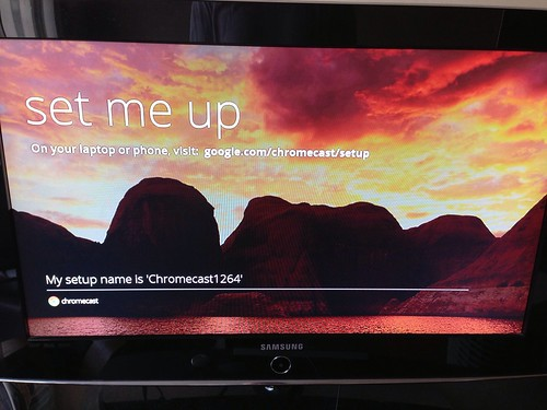 Set me up screen on TV
